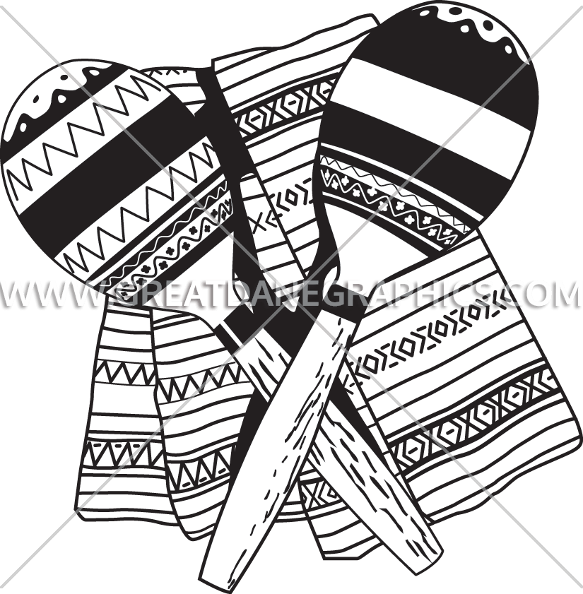 Crossed production ready artwork. Maracas clipart black and white