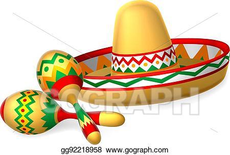 Vector art mexican sombrero. Maracas clipart fiesta hat