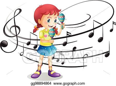 Maracas clipart kid. Eps vector little girl