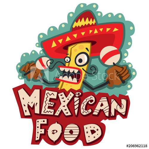 Maracas clipart mexican food. Logo with burrito in