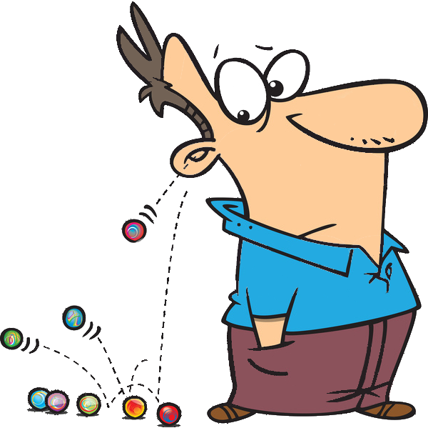 Marbles clipart cartoon. Rolling out of man