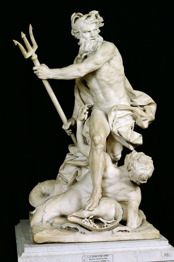 Replicas poseidon statue . Marbles clipart neptune