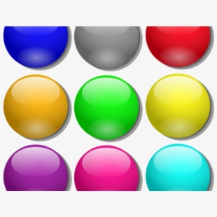 Color balls game png. Marbles clipart set