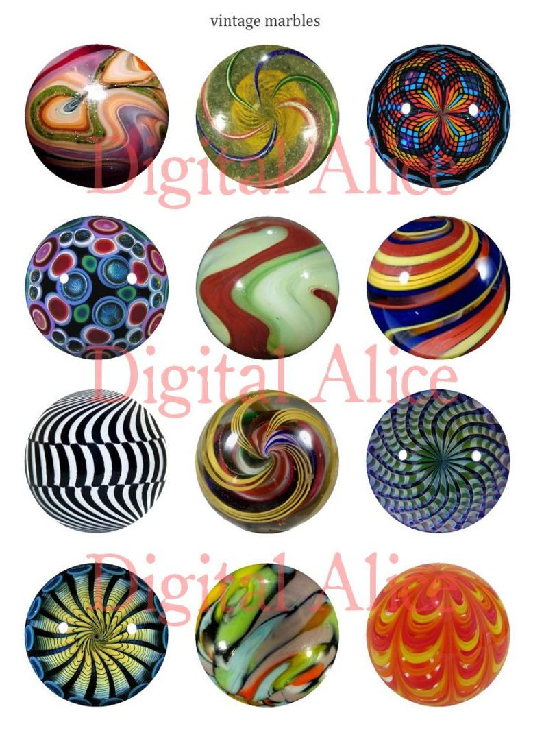 Antique craft circles marble. Marbles clipart vintage