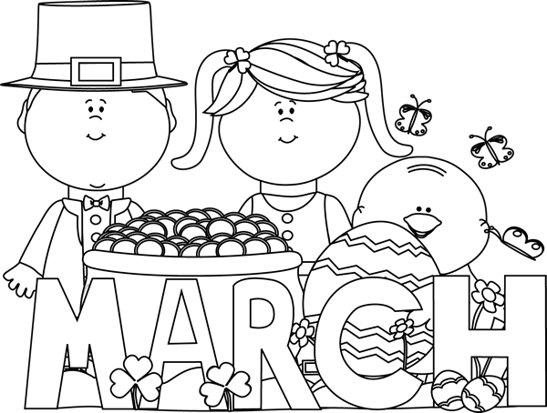 March clipart black and white. Holidays clip art