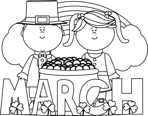 Letters inside great of. March clipart black and white
