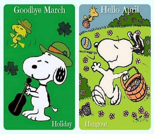 Goodbye hello april snoopy. March clipart good bye