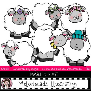 Addict clip art set. March clipart melonheadz