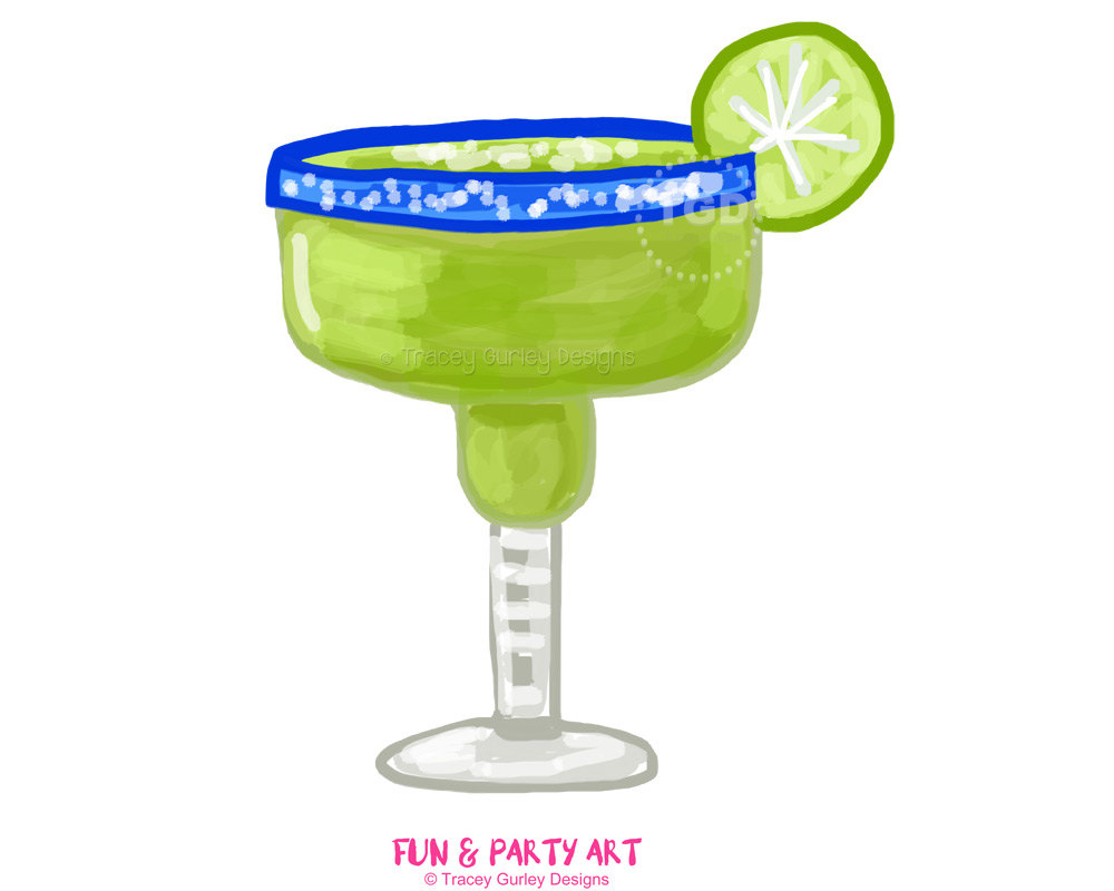 Glass invitation art watercolor. Margarita clipart