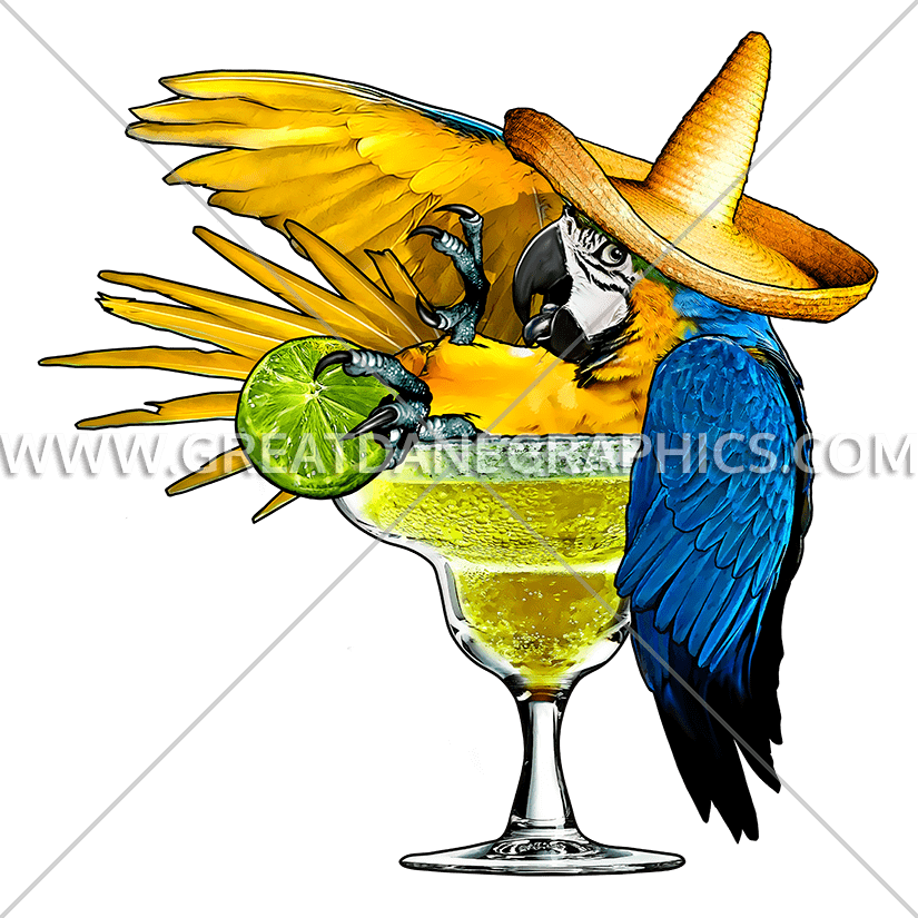Margarita production ready artwork. Mexican clipart parrot