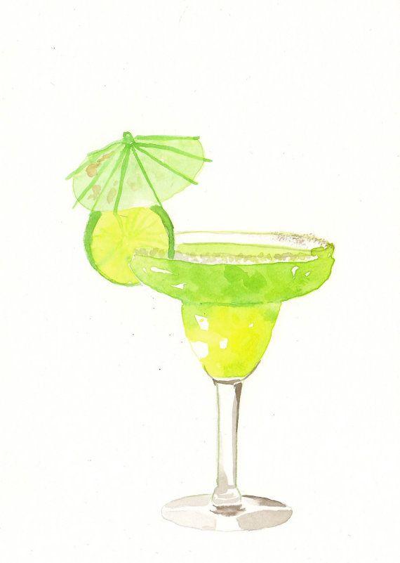 Margarita clipart watercolor. Original painting green cocktail
