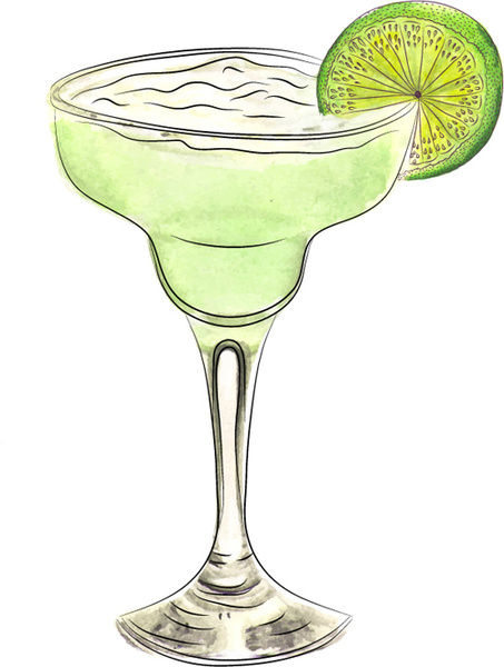 Doodle cocktail free vector. Margarita clipart watercolor