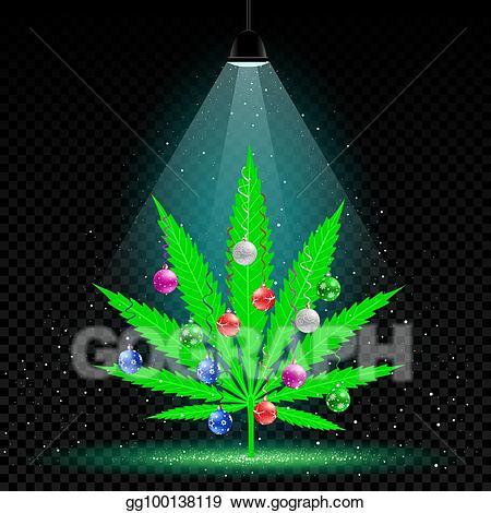 Eps illustration hemp tree. Marijuana clipart christmas