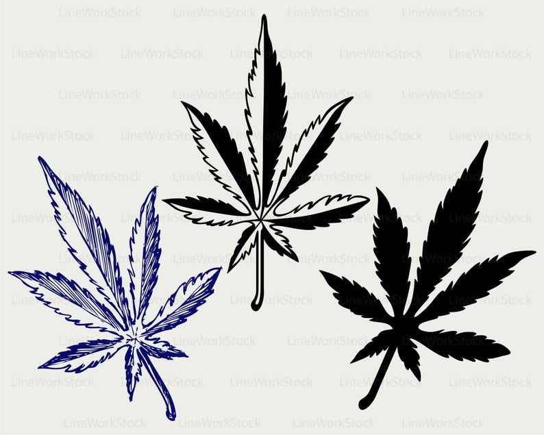 Marijuana clipart tropical plant. Cannabis svg leaves silhouette