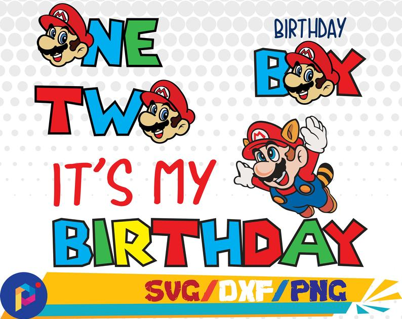 Mario clipart mario birthday. Svg dxf png for