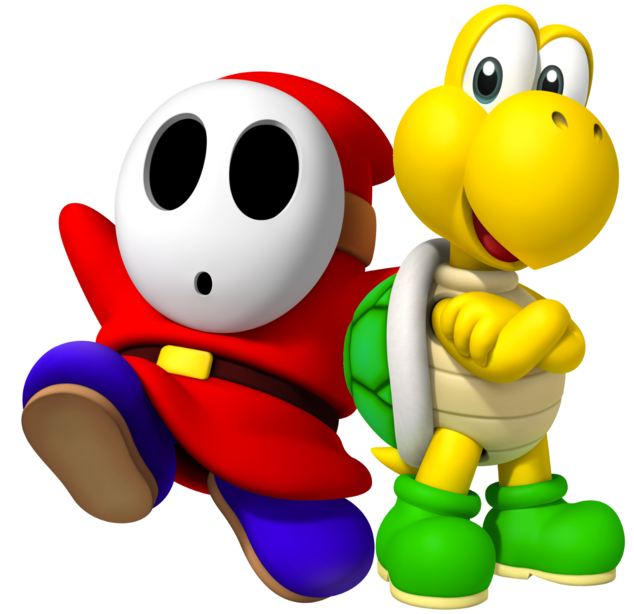 Koopa troopa and guy. Shy clipart shy man