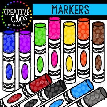 Rainbow creative clips tpt. Marker clipart