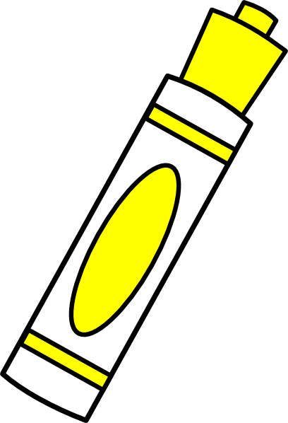 Yellow clip art at. Marker clipart