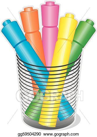 Eps illustration marker pens. Markers clipart highlighter