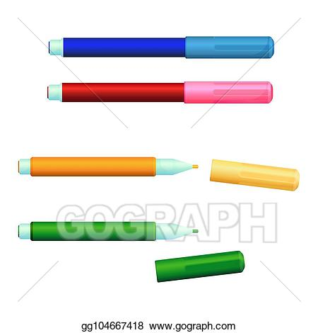 Markers clipart sketch pen. Vector art set of