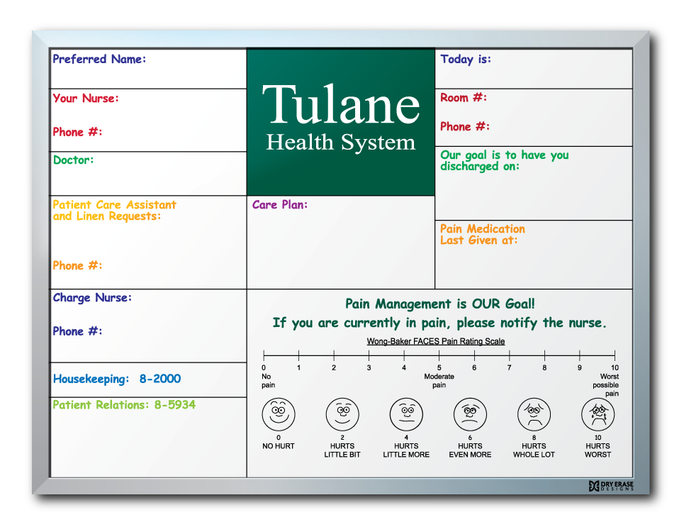 Tulane Medical Center Patient Info Dry Erase Board