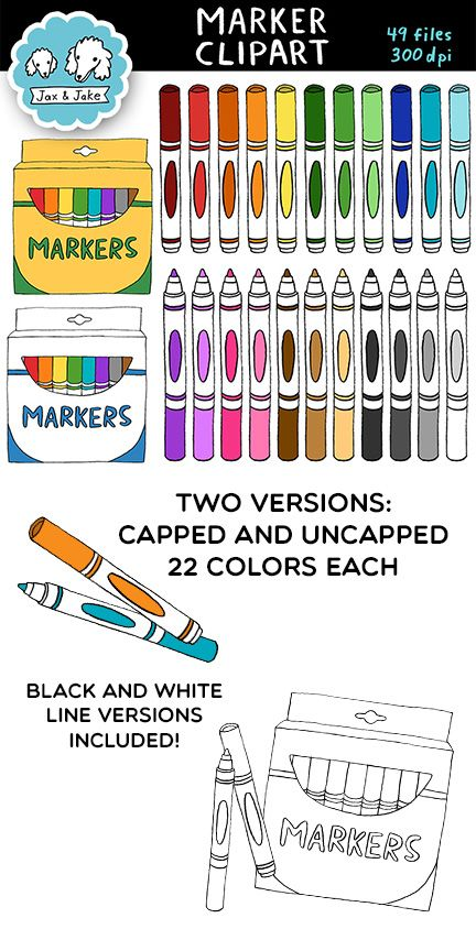 Clip art boxes colors. Markers clipart box marker