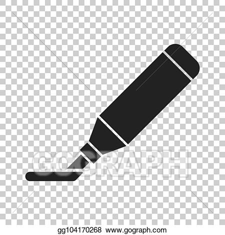 Vector illustration highlighter marker. Markers clipart clear background
