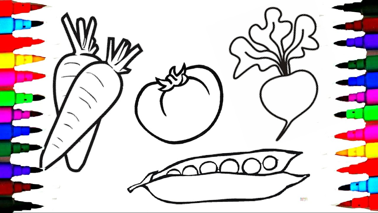 Draw and pages fruits. Markers clipart coloring book