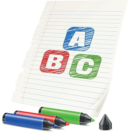 Markers clipart paper. Color and letters on