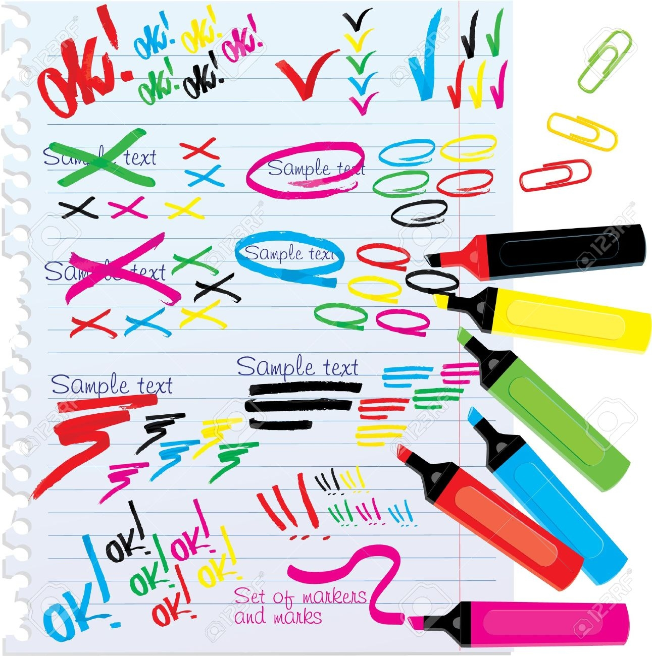 Home office and with. Markers clipart paper