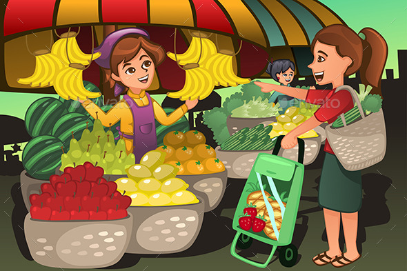 Fruit seller in a. Market clipart
