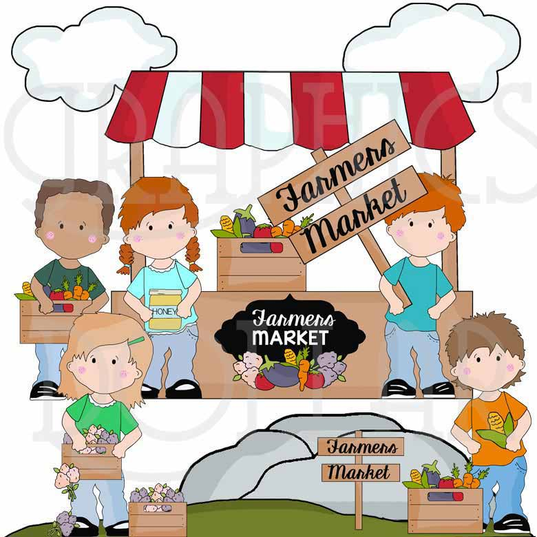 Market clipart. Selling at farmers clip
