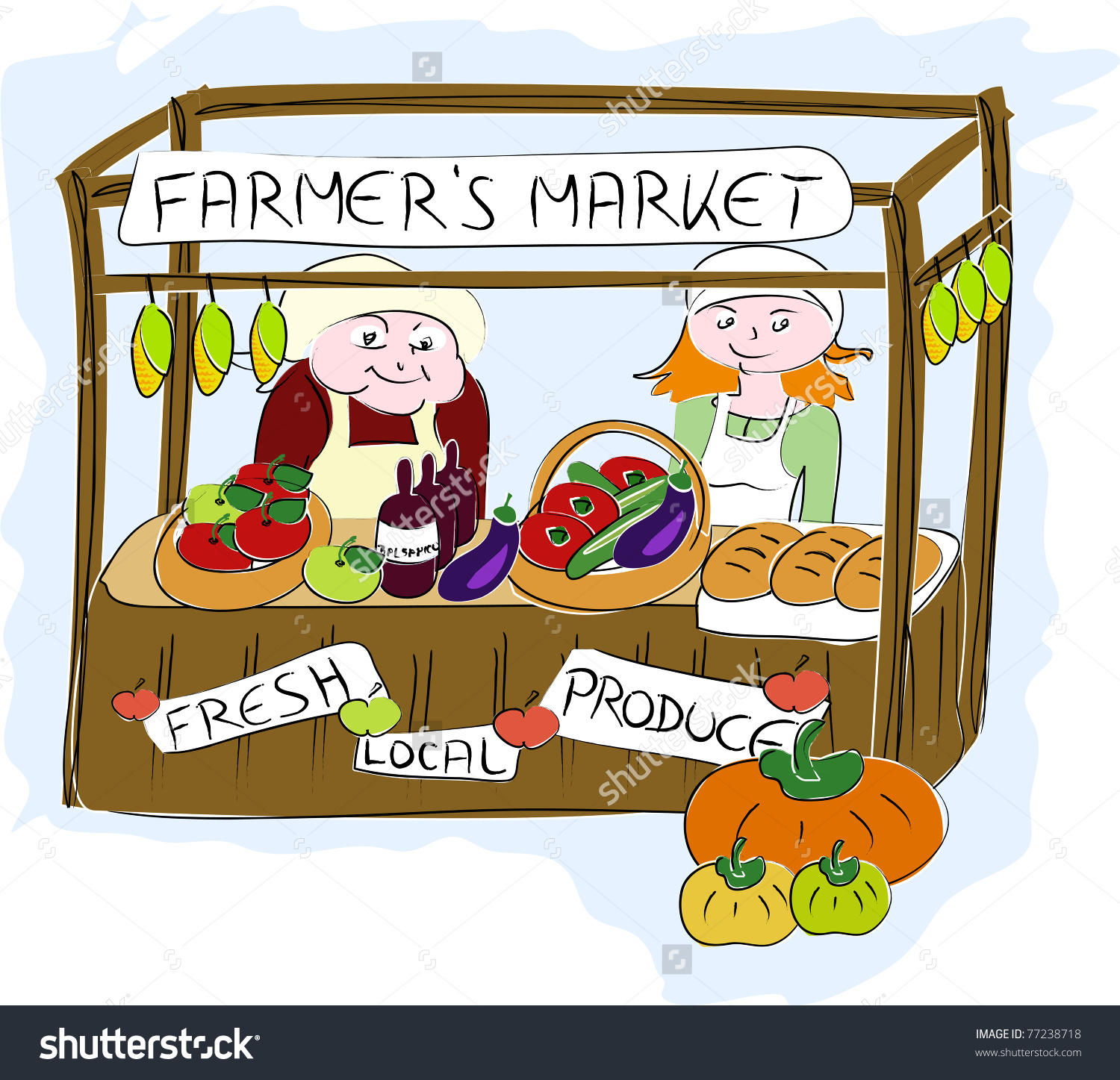 Fresh farmers pencil and. Market clipart