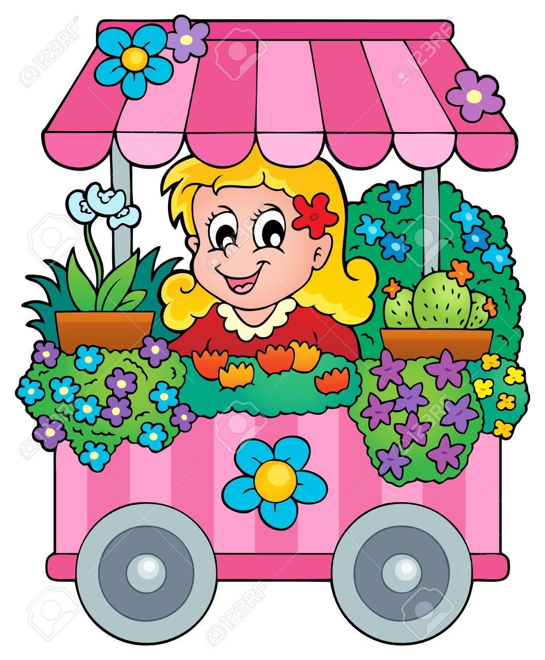 Farmers stall flower shop. Market clipart