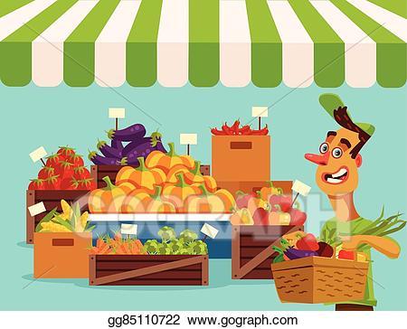 Market clipart. Vector art food vegetables