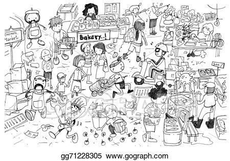 Stock illustrations black and. Market clipart line art