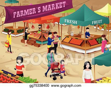 Market clipart market scene. Clip art vector farmers