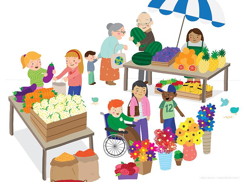 Market clipart market scene. Final by reg silva