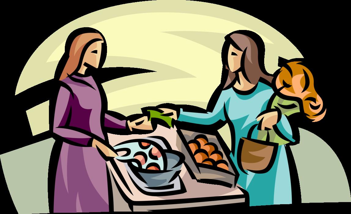 Customer buys produce fruit. Market clipart market scene