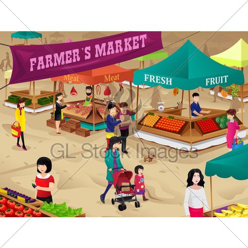 Farmers gl stock images. Market clipart market scene