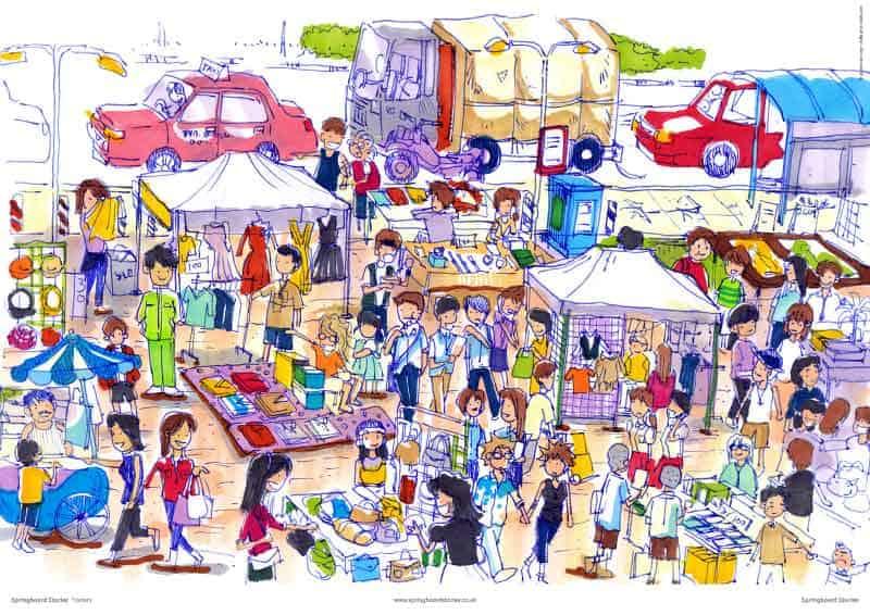 . Market clipart market scene