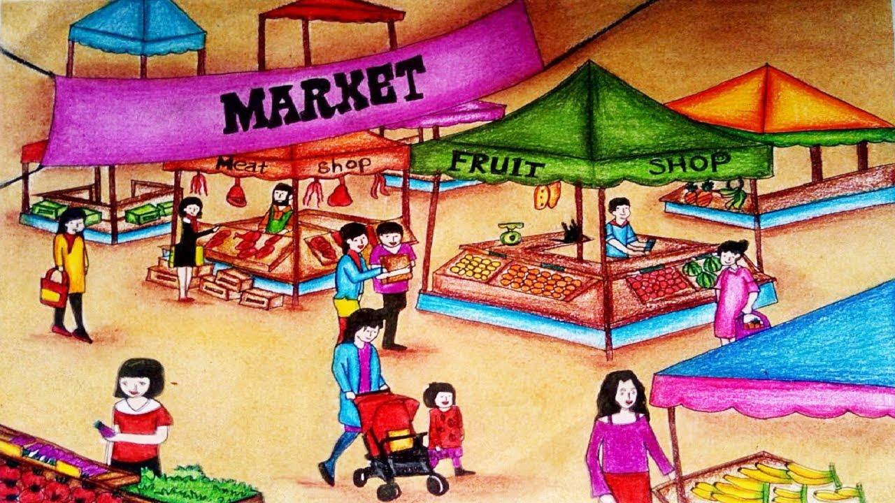 Market clipart market scene. How to draw scenery