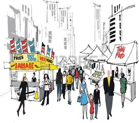 Market clipart street market. Vector illustration of new