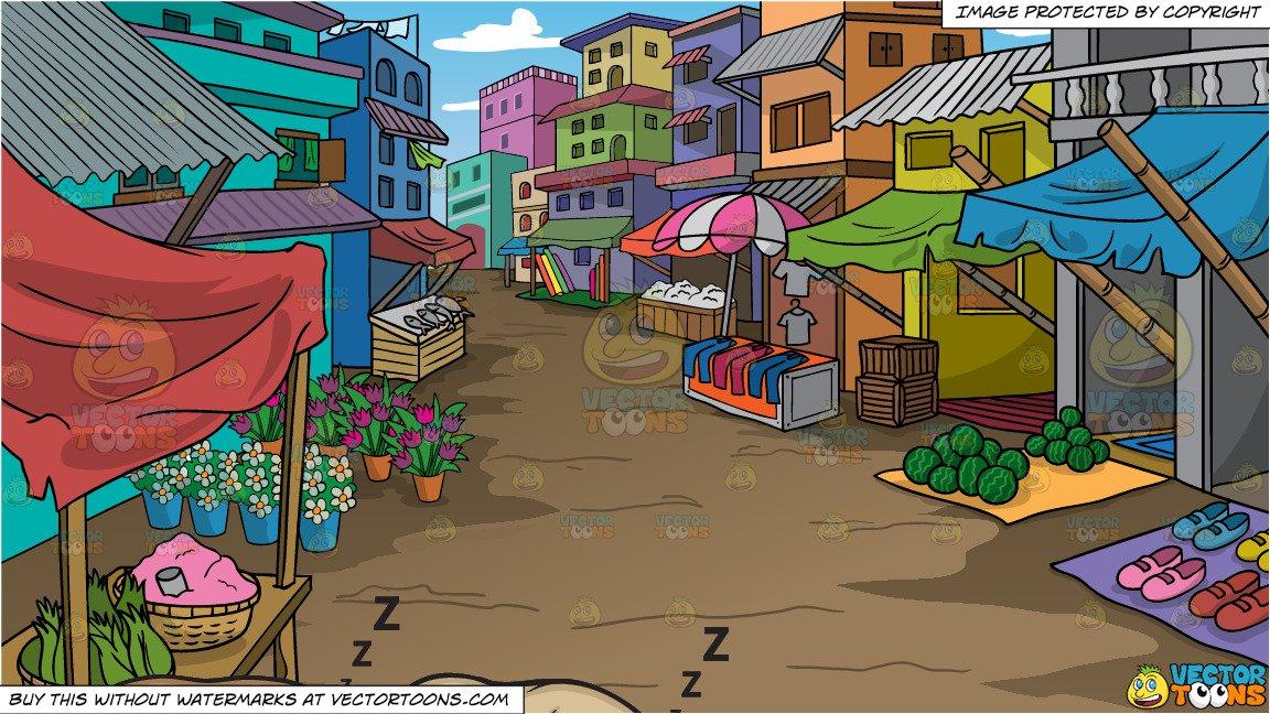 Let sleeping dogs lie. Market clipart street market