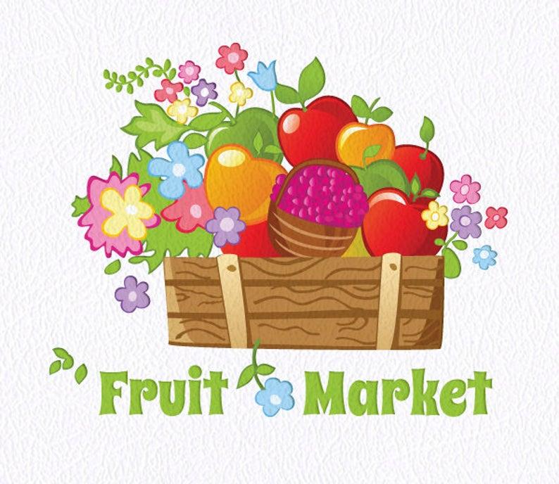 Market clipart vector. Fruit logo fruits premade