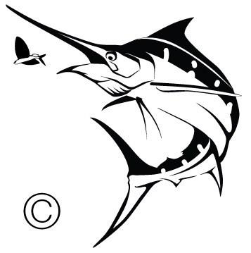 Blue chasing flying fishspirit. Marlin clipart