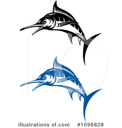 Illustration by vector tradition. Marlin clipart
