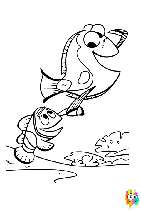 Marlin clipart stencil. Dory and coloring page