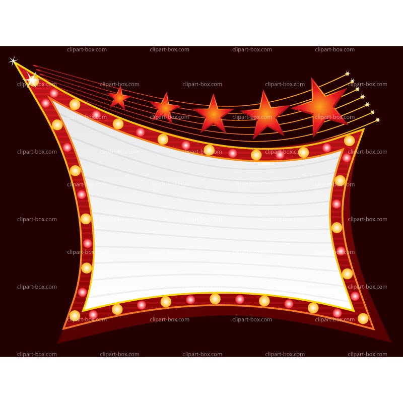 Marquee clipart. Now showing sign