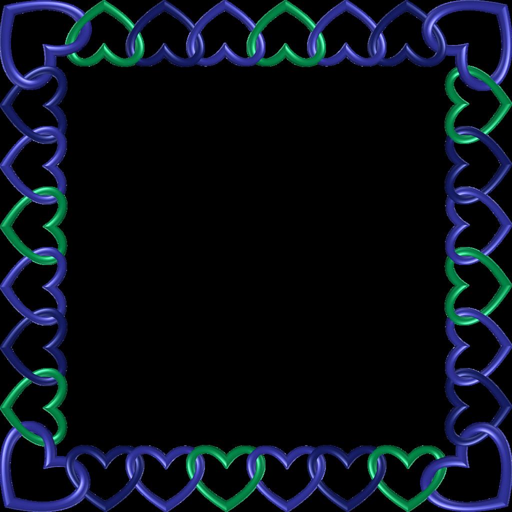 Green indigo frame hearts. Square clipart blue square